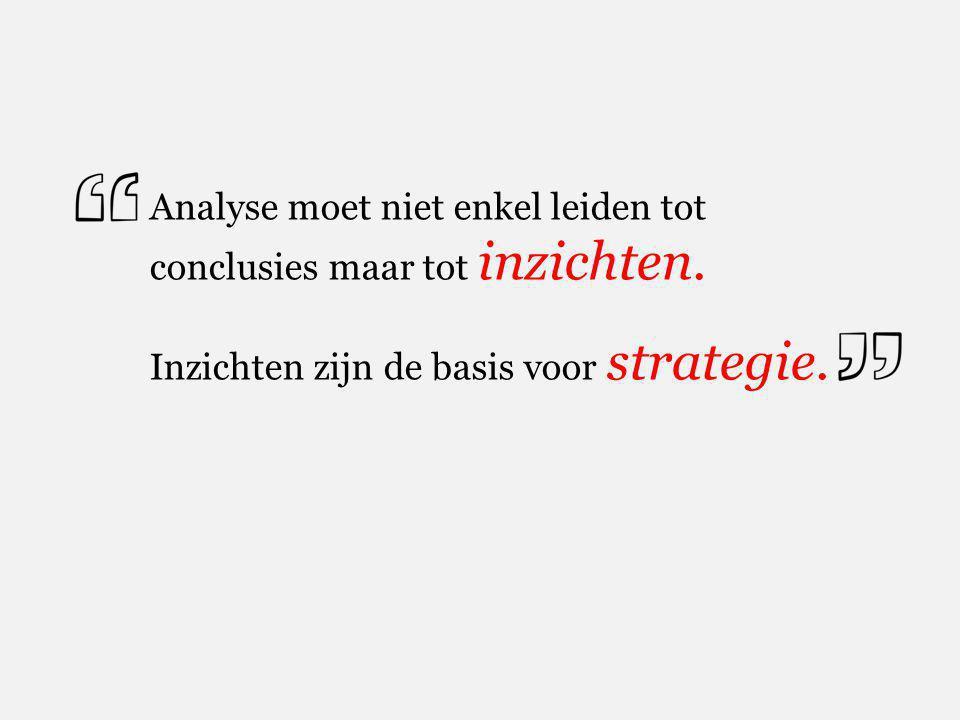 Analyse moet niet enkel leiden tot conclusies maar tot inzichten