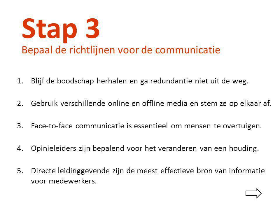 Stap 3 Bepaal de richtlijnen voor de communicatie