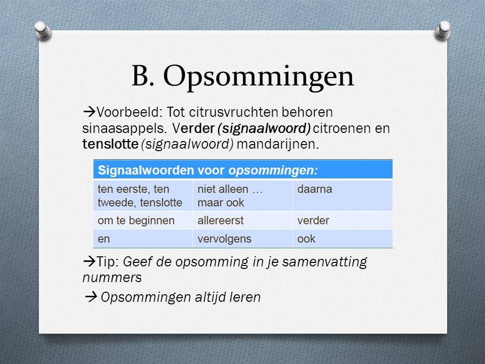 B. Opsommingen