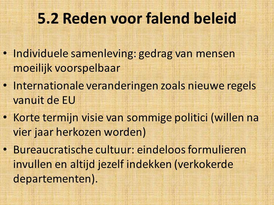 5.2 Reden voor falend beleid