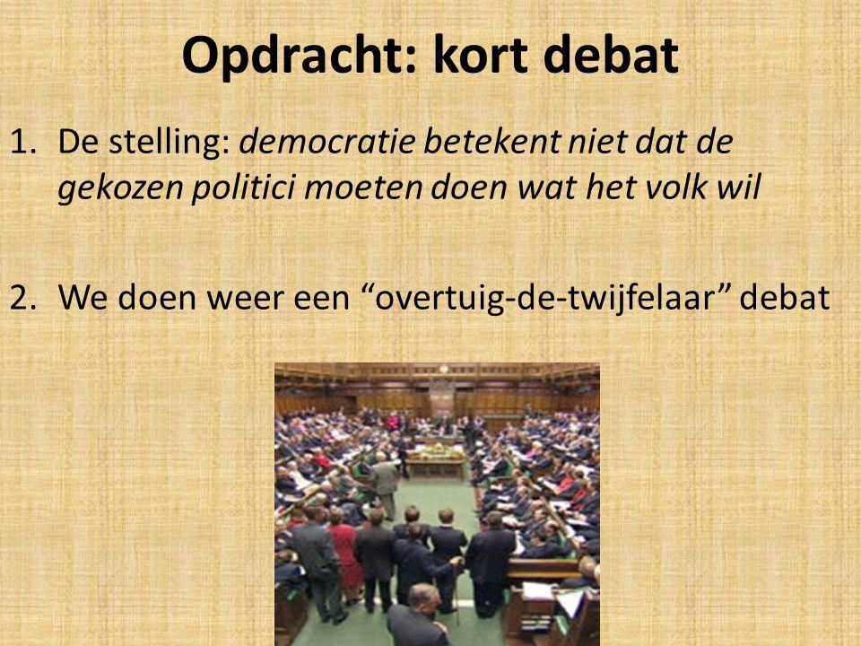 Opdracht: kort debat De stelling: democratie betekent niet dat de gekozen politici moeten doen wat het volk wil.