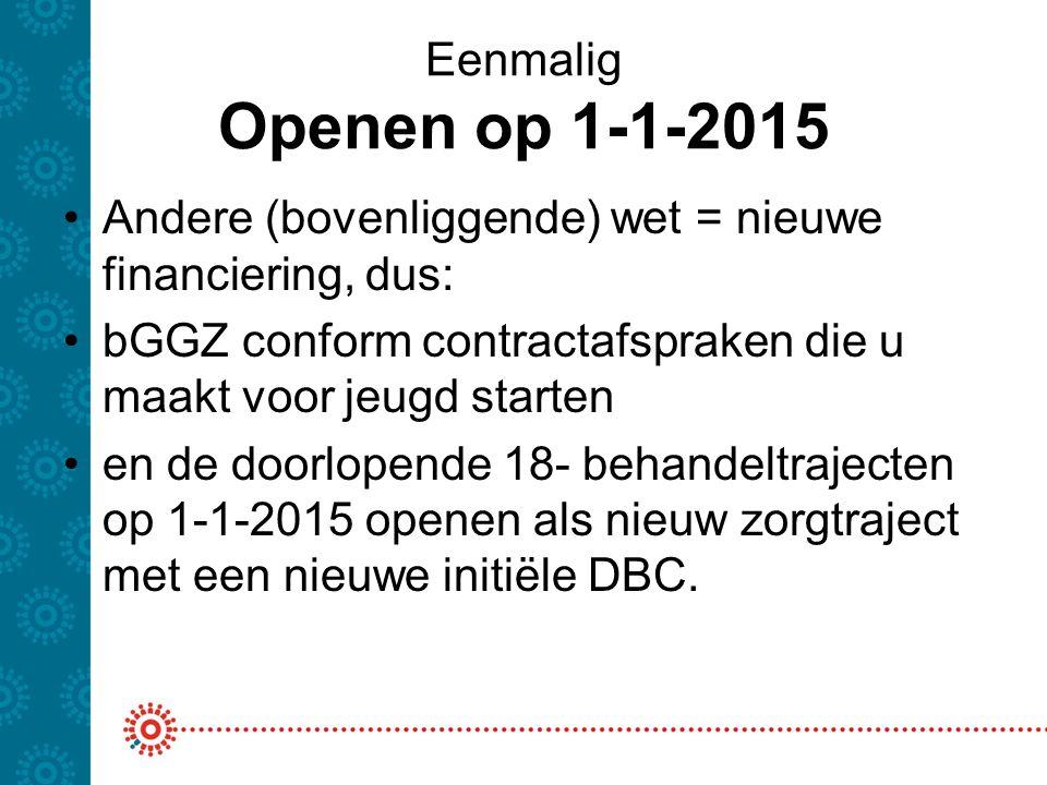 Eenmalig Openen op 1-1-2015 Andere (bovenliggende) wet = nieuwe financiering, dus: bGGZ conform contractafspraken die u maakt voor jeugd starten.