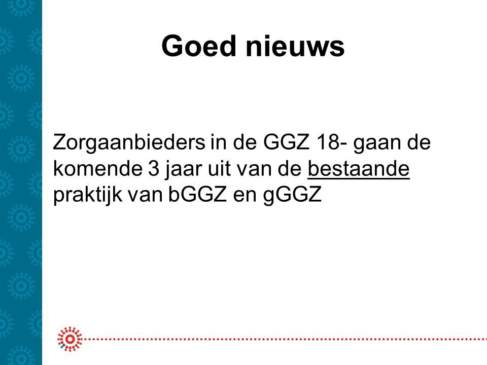 Goed nieuws Zorgaanbieders in de GGZ 18- gaan de komende 3 jaar uit van de bestaande praktijk van bGGZ en gGGZ.
