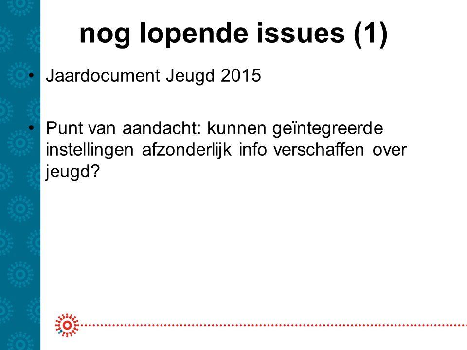 nog lopende issues (1) Jaardocument Jeugd 2015