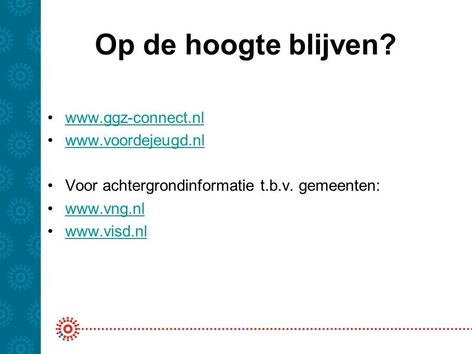 Op de hoogte blijven www.ggz-connect.nl www.voordejeugd.nl