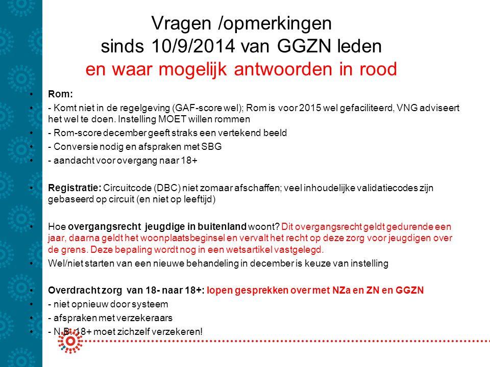 Vragen /opmerkingen sinds 10/9/2014 van GGZN leden en waar mogelijk antwoorden in rood