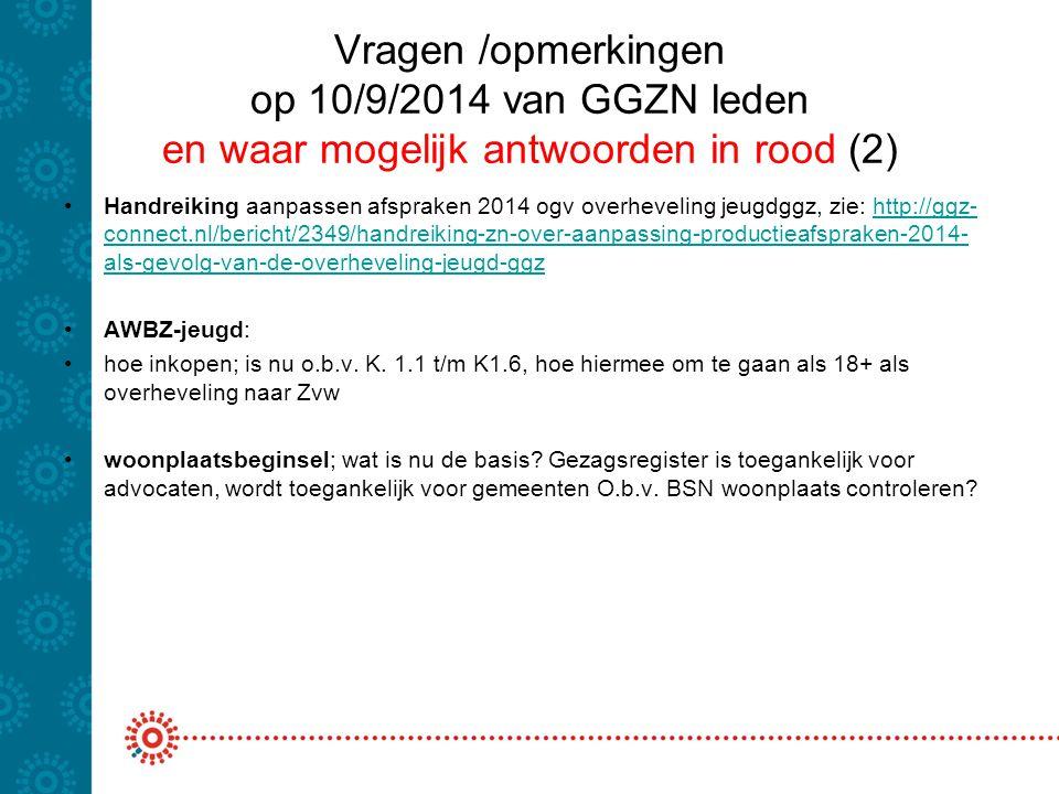 Vragen /opmerkingen op 10/9/2014 van GGZN leden en waar mogelijk antwoorden in rood (2)