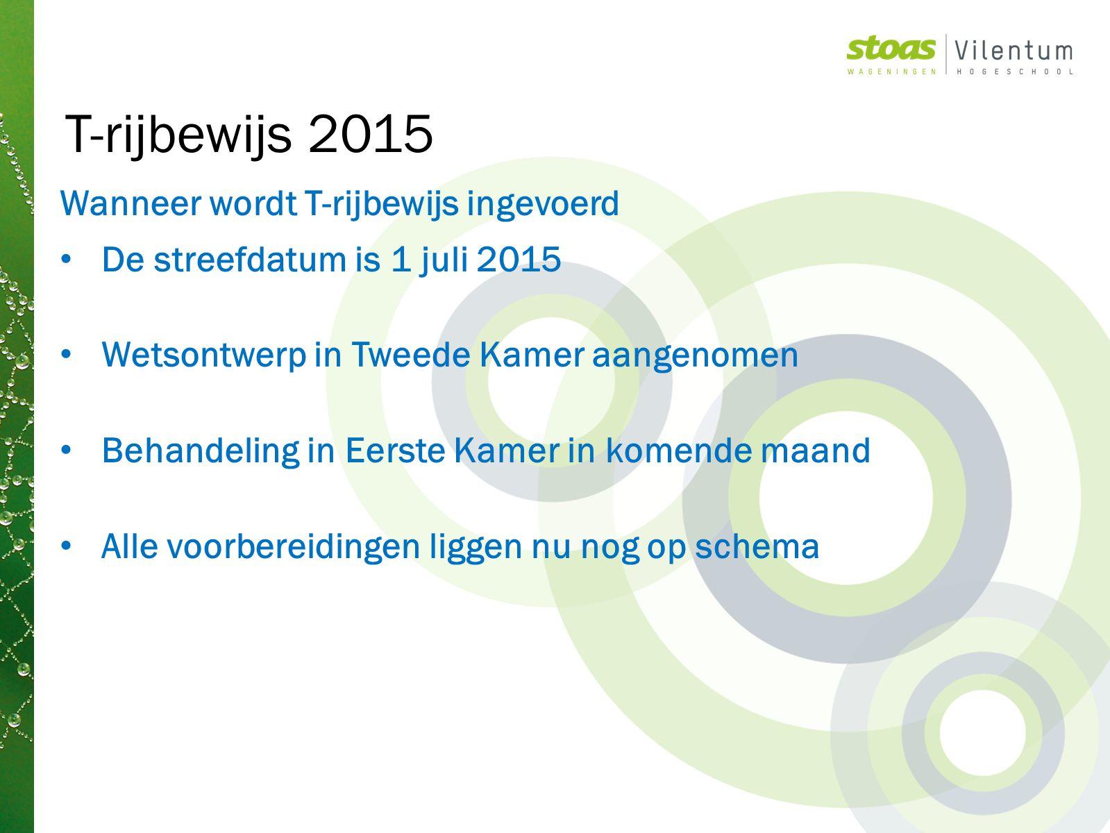 T-rijbewijs 2015 Wanneer wordt T-rijbewijs ingevoerd