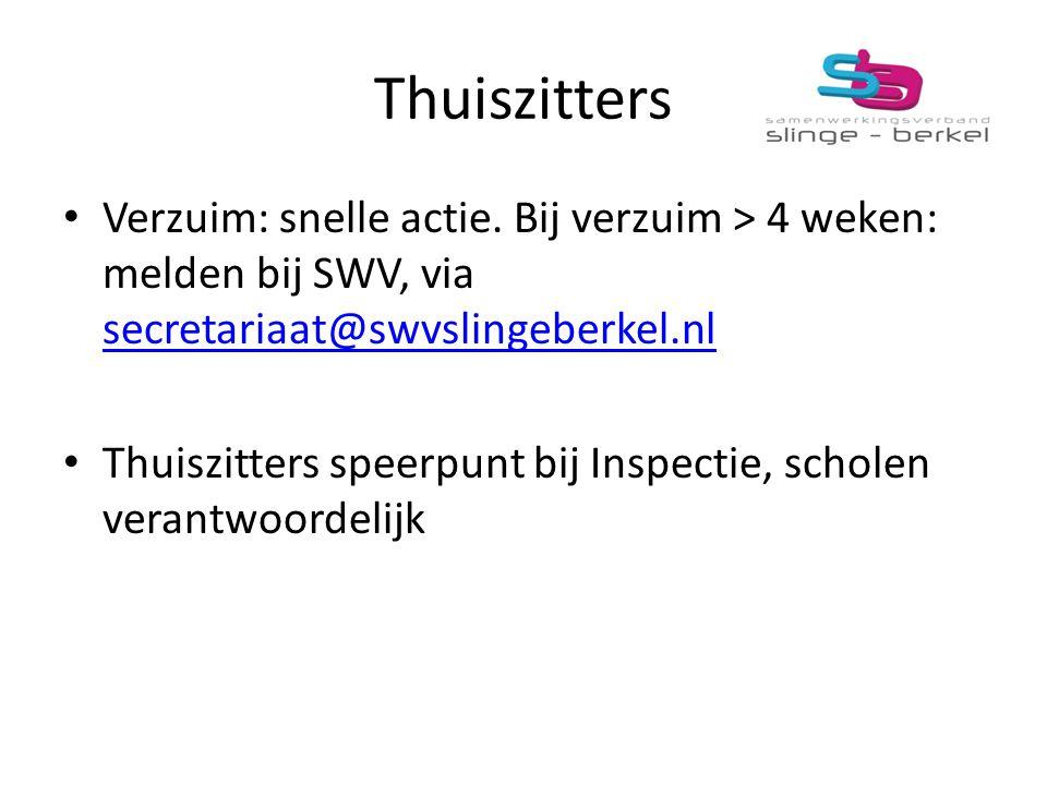 Thuiszitters Verzuim: snelle actie. Bij verzuim > 4 weken: melden bij SWV, via secretariaat@swvslingeberkel.nl.