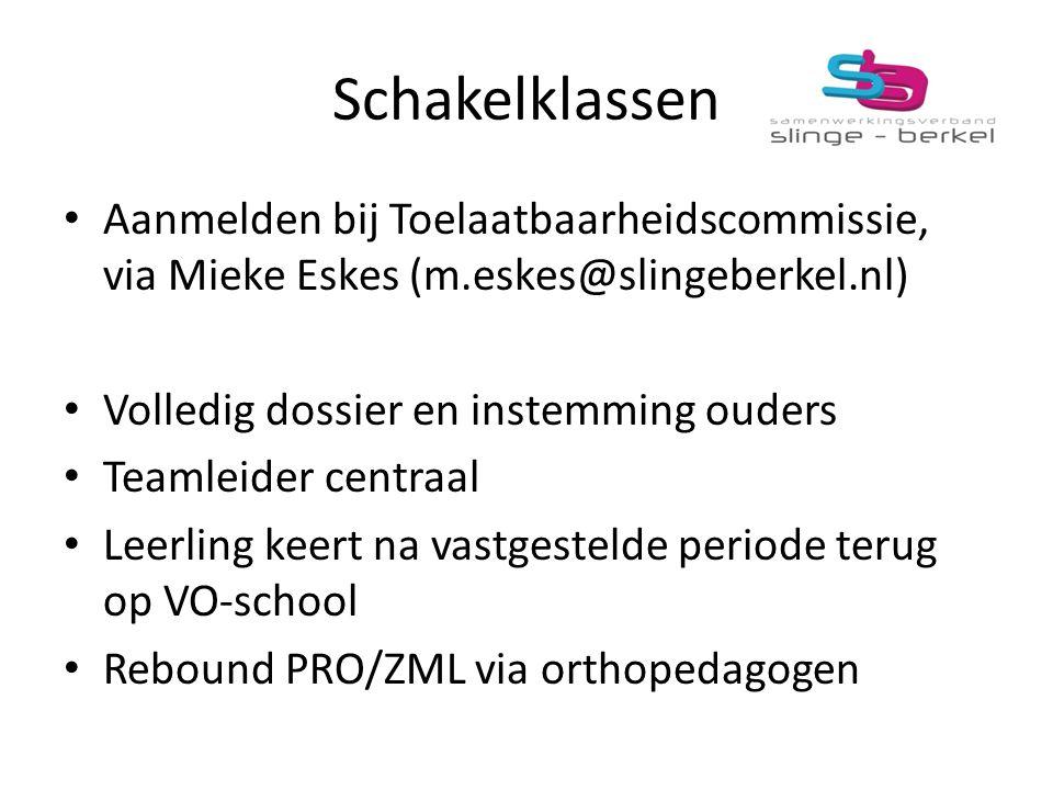 Schakelklassen Aanmelden bij Toelaatbaarheidscommissie, via Mieke Eskes (m.eskes@slingeberkel.nl) Volledig dossier en instemming ouders.