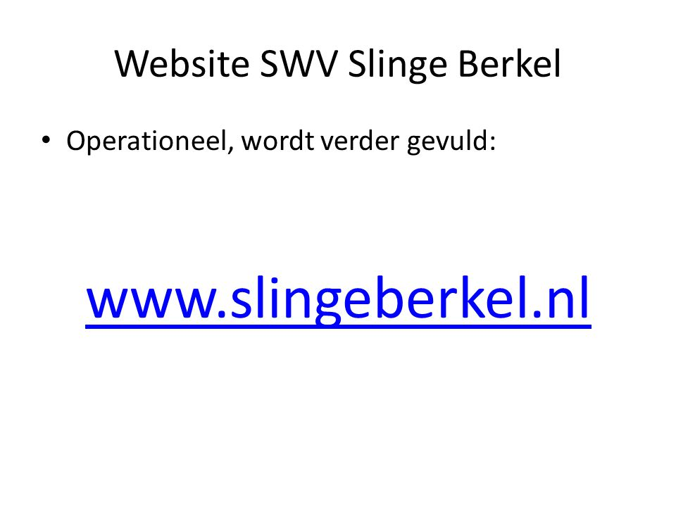 Website SWV Slinge Berkel