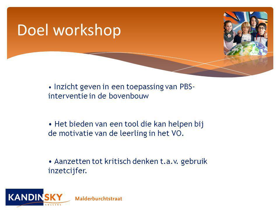 Doel workshop Inzicht geven in een toepassing van PBS- interventie in de bovenbouw.
