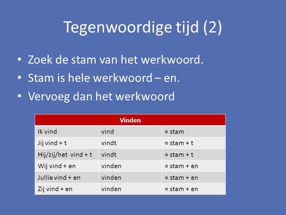 Tegenwoordige tijd (2) Zoek de stam van het werkwoord.