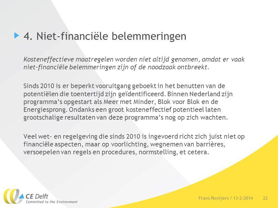 4. Niet-financiële belemmeringen