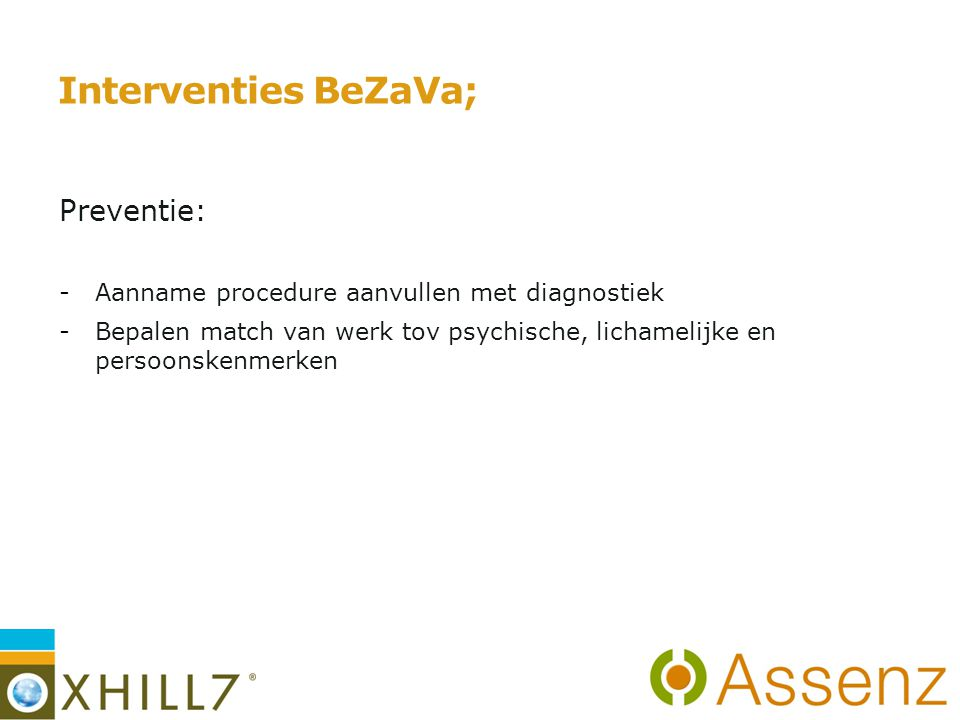 Interventies BeZaVa; Preventie: