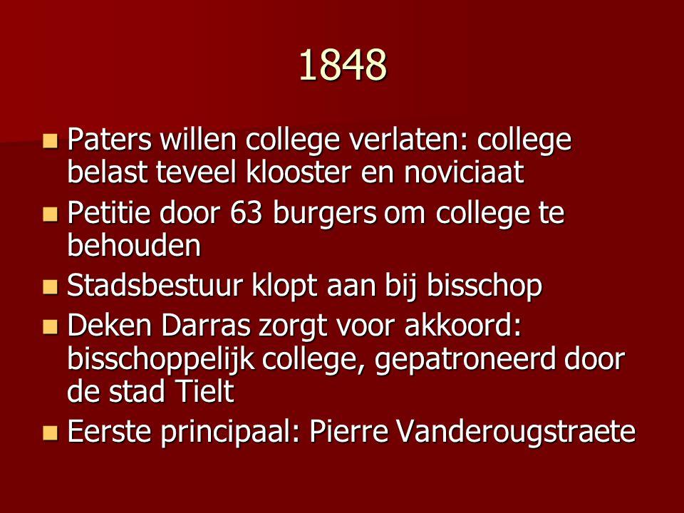 1848 Paters willen college verlaten: college belast teveel klooster en noviciaat. Petitie door 63 burgers om college te behouden.