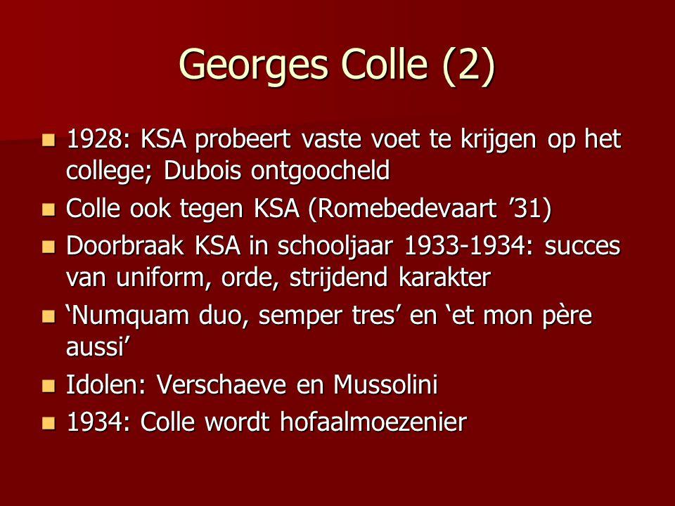 Georges Colle (2) 1928: KSA probeert vaste voet te krijgen op het college; Dubois ontgoocheld. Colle ook tegen KSA (Romebedevaart '31)