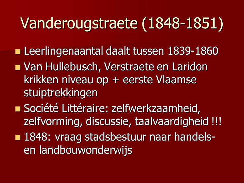 Vanderougstraete (1848-1851) Leerlingenaantal daalt tussen 1839-1860