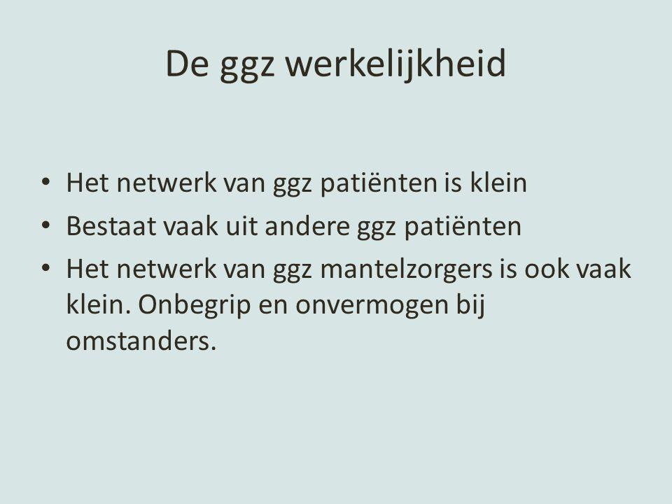 De ggz werkelijkheid Het netwerk van ggz patiënten is klein