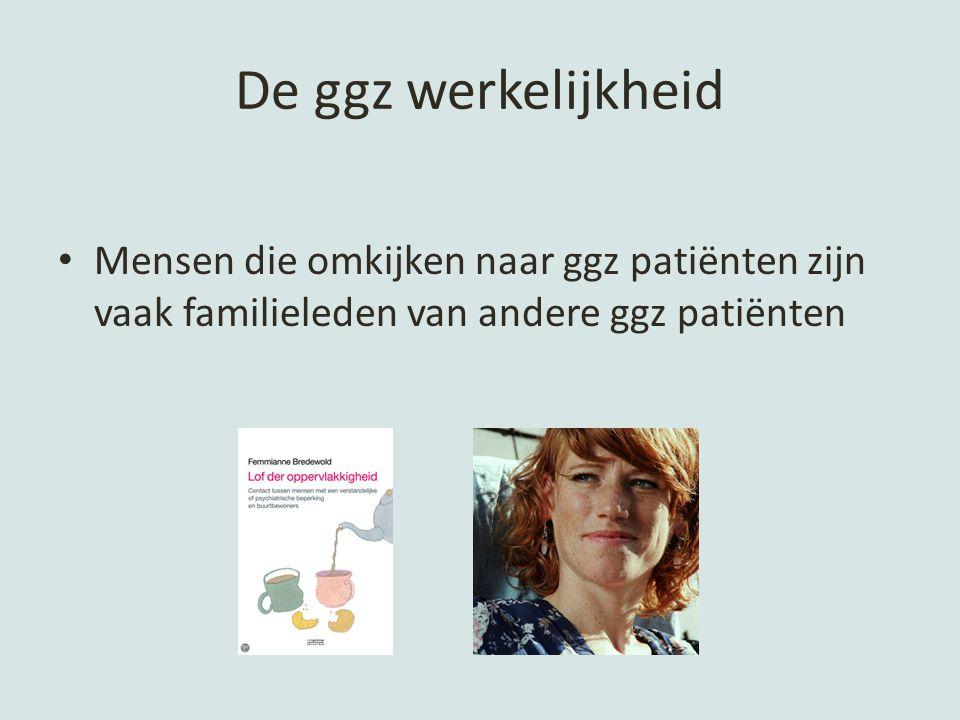 De ggz werkelijkheid Mensen die omkijken naar ggz patiënten zijn vaak familieleden van andere ggz patiënten.