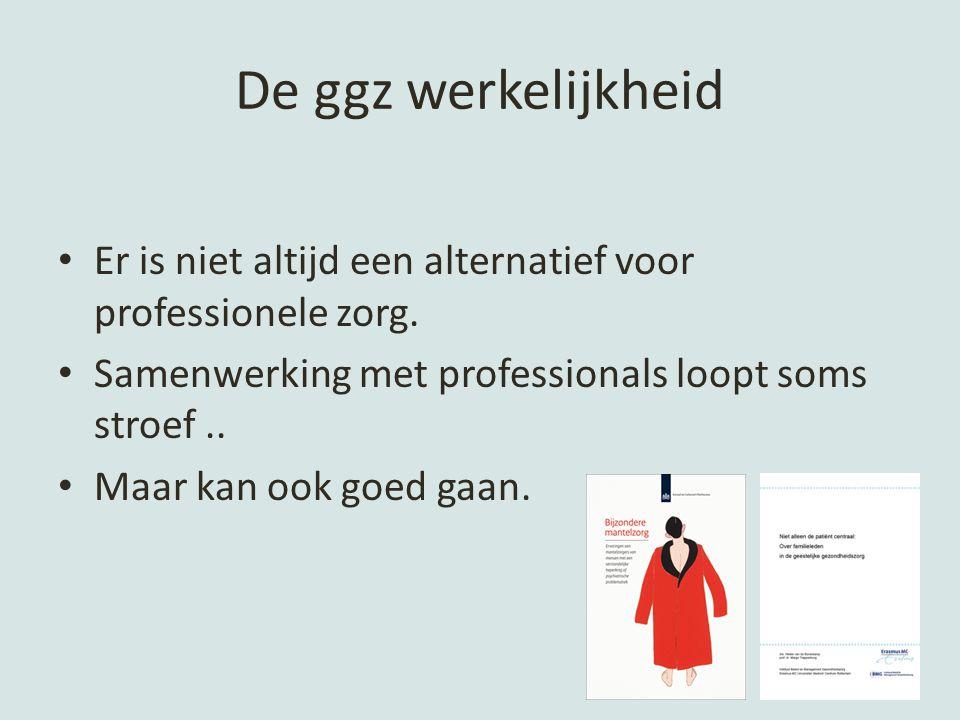 De ggz werkelijkheid Er is niet altijd een alternatief voor professionele zorg. Samenwerking met professionals loopt soms stroef ..