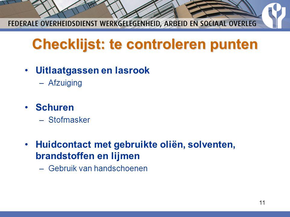 Checklijst: te controleren punten