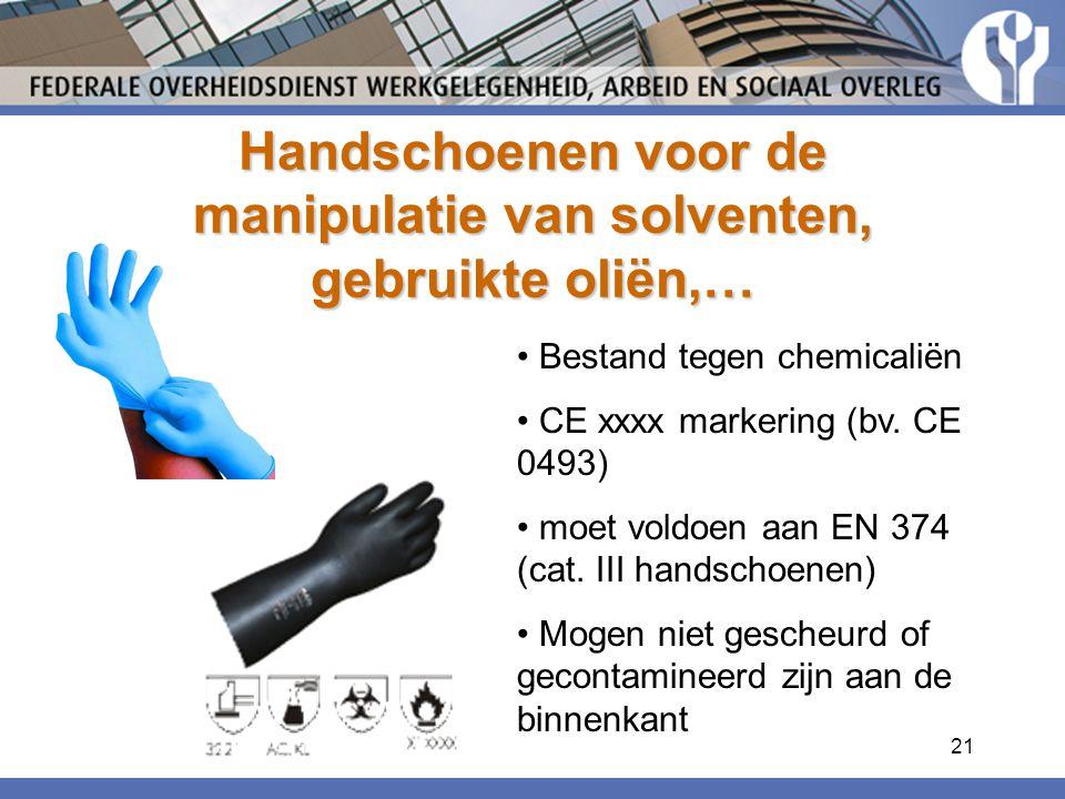 Handschoenen voor de manipulatie van solventen, gebruikte oliën,…