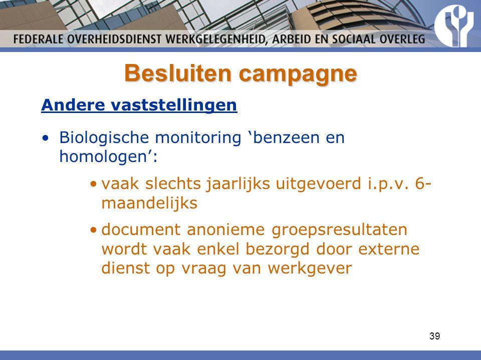 Besluiten campagne Andere vaststellingen