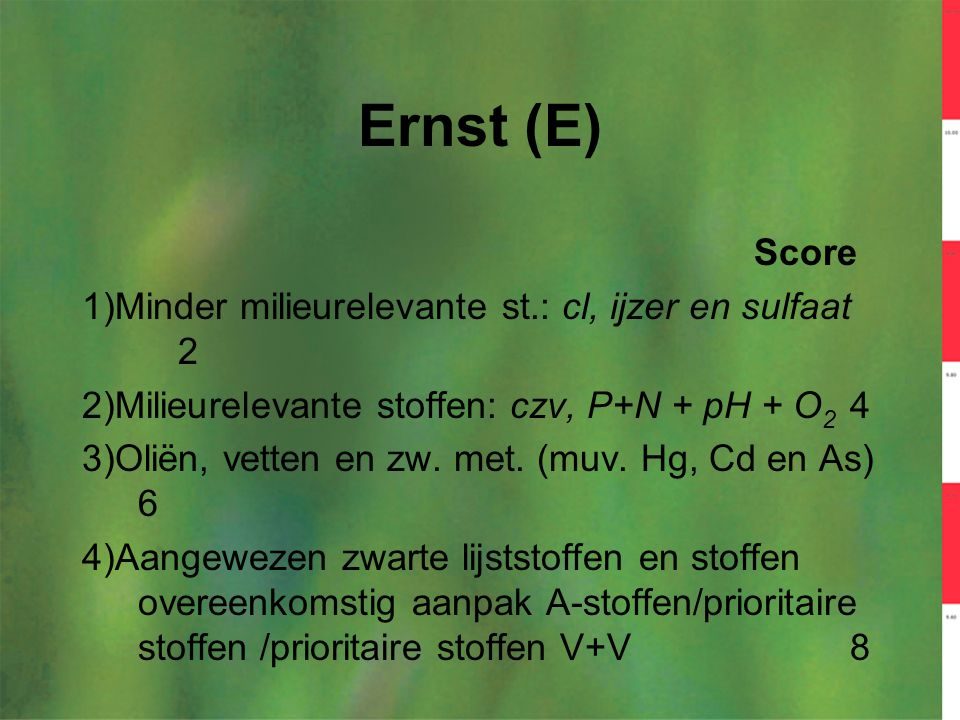 Ernst (E) Score 1)Minder milieurelevante st.: cl, ijzer en sulfaat 2