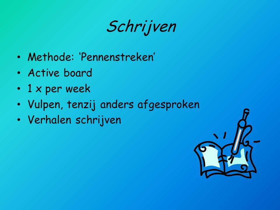 Schrijven Methode: 'Pennenstreken' Active board 1 x per week