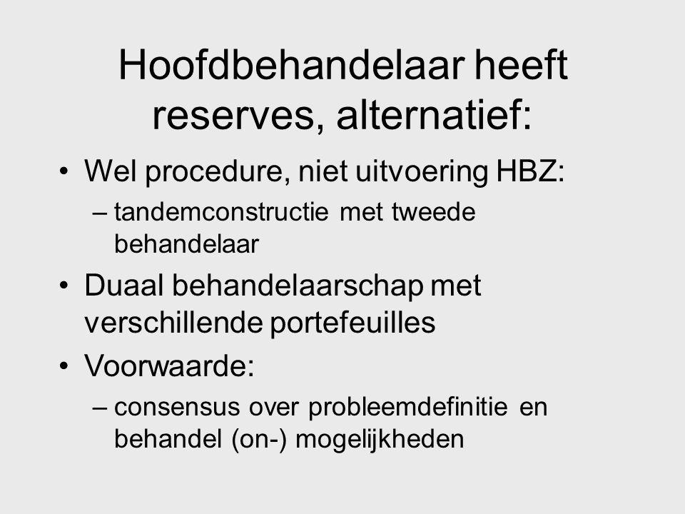 Hoofdbehandelaar heeft reserves, alternatief: