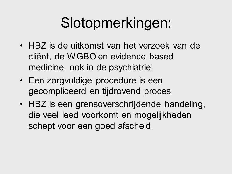 Slotopmerkingen: HBZ is de uitkomst van het verzoek van de cliënt, de WGBO en evidence based medicine, ook in de psychiatrie!