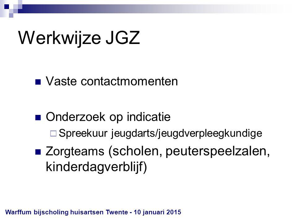 Werkwijze JGZ Vaste contactmomenten Onderzoek op indicatie