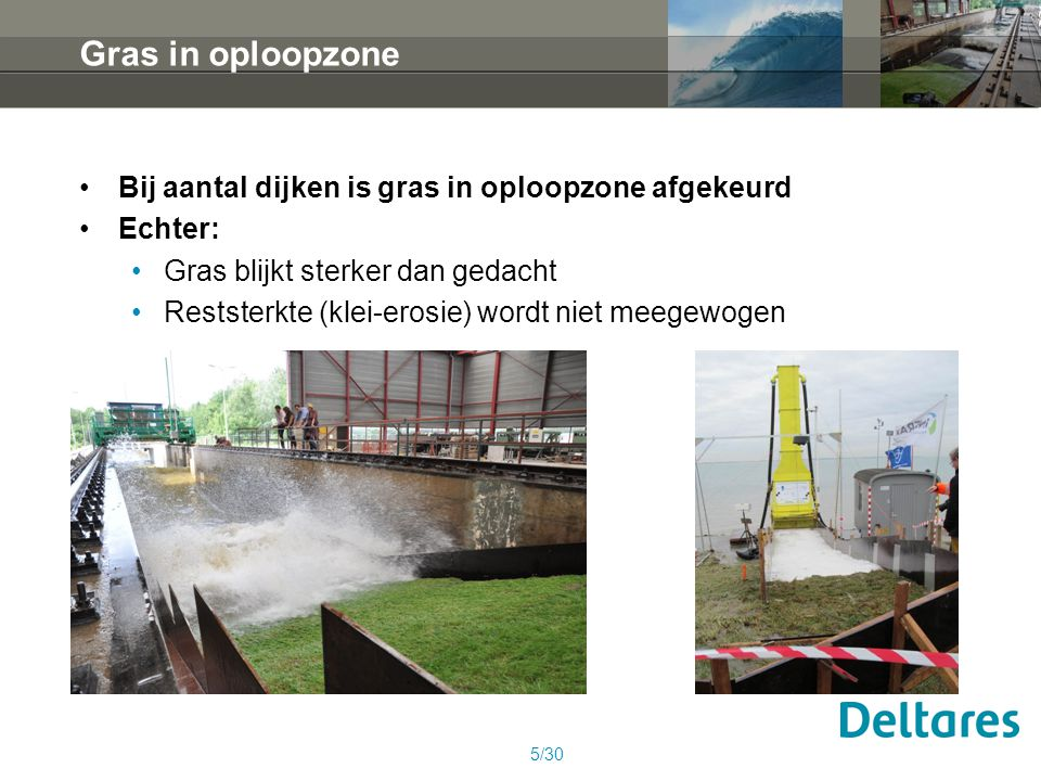 Gras in oploopzone Bij aantal dijken is gras in oploopzone afgekeurd