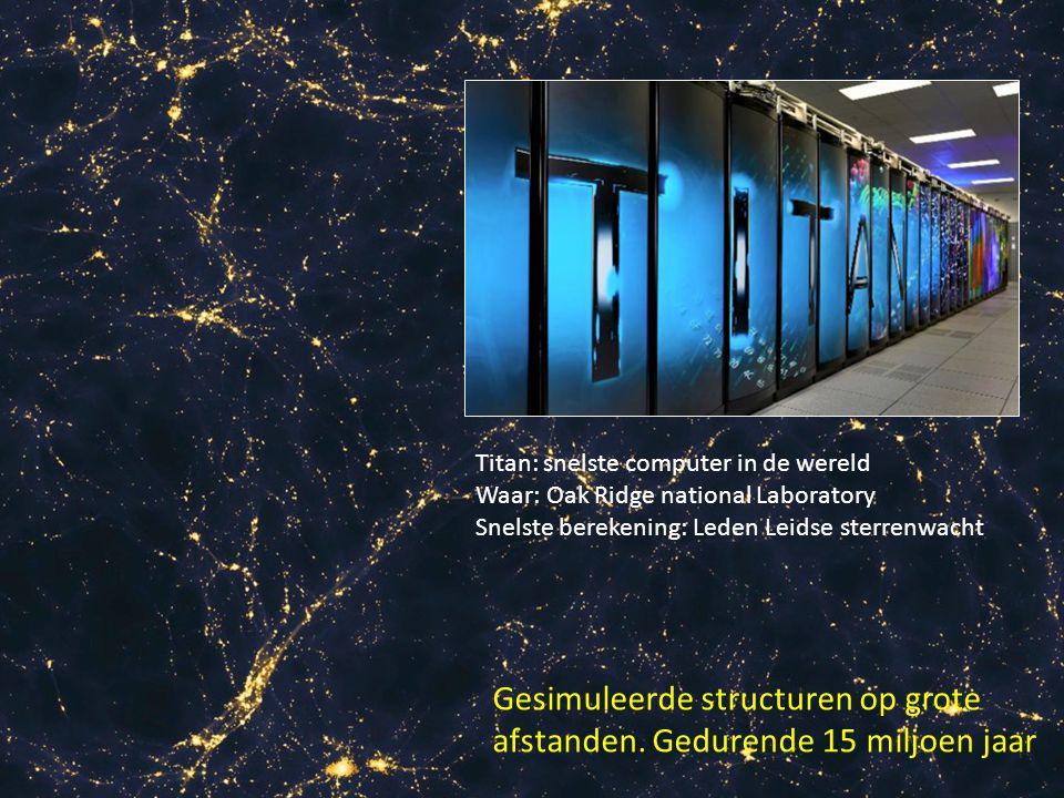 Gesimuleerde structuren op grote afstanden. Gedurende 15 miljoen jaar