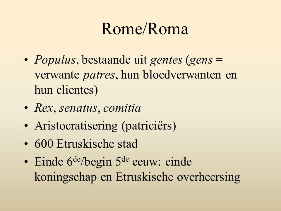 Rome/Roma Populus, bestaande uit gentes (gens = verwante patres, hun bloedverwanten en hun clientes)
