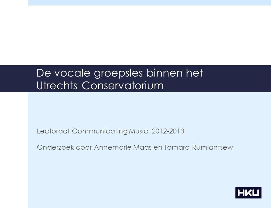 De vocale groepsles binnen het Utrechts Conservatorium