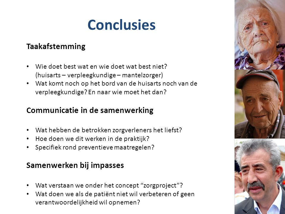 Conclusies Taakafstemming Communicatie in de samenwerking