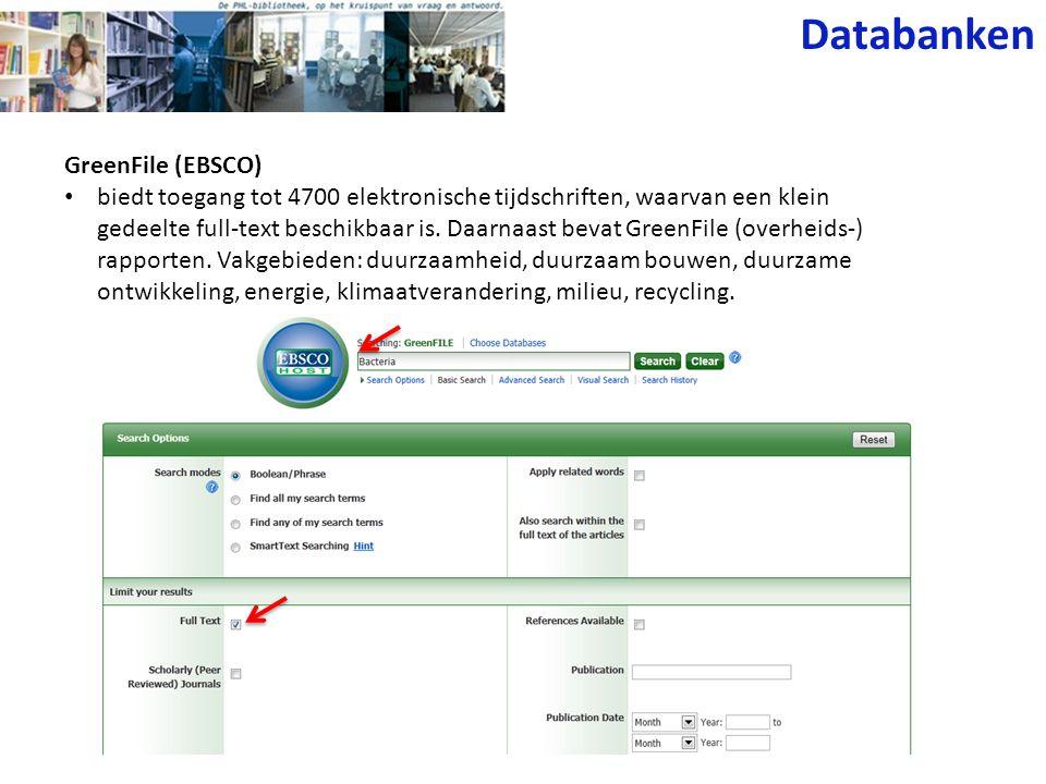 Databanken GreenFile (EBSCO)