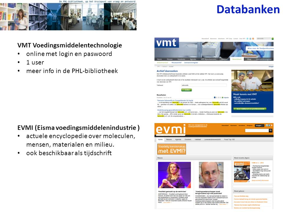 Databanken VMT Voedingsmiddelentechnologie