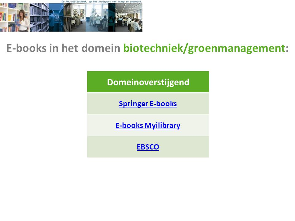 E-books in het domein biotechniek/groenmanagement: