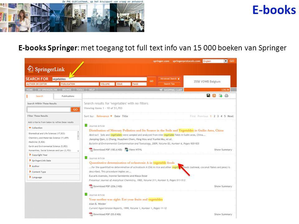 E-books E-books Springer: met toegang tot full text info van 15 000 boeken van Springer