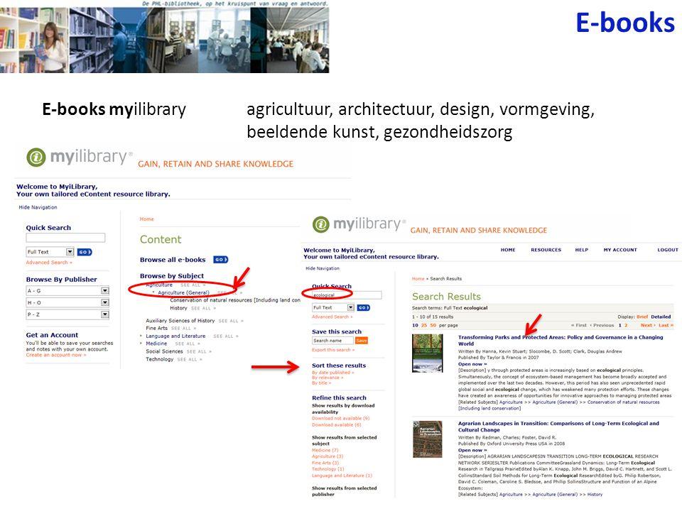 E-books E-books myilibrary agricultuur, architectuur, design, vormgeving, beeldende kunst, gezondheidszorg.