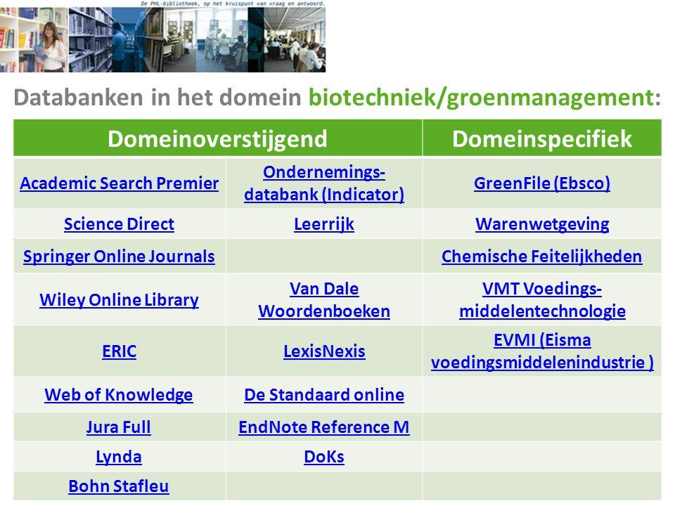 Databanken in het domein biotechniek/groenmanagement: