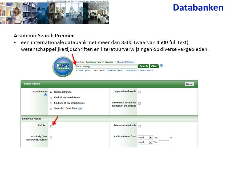 Databanken Academic Search Premier
