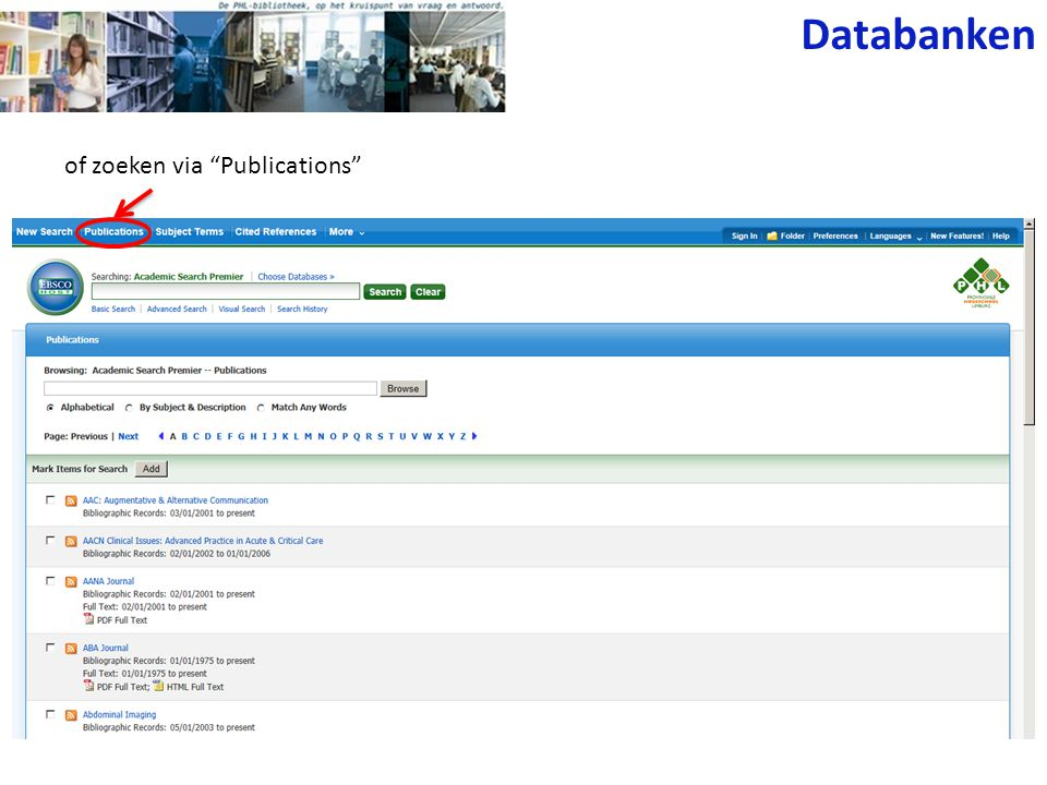 Databanken of zoeken via Publications
