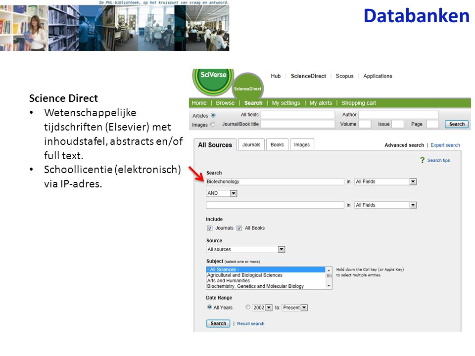 Databanken Science Direct