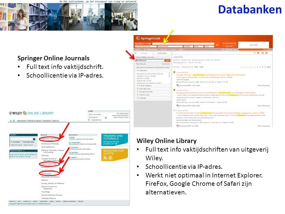 Databanken Springer Online Journals Full text info vaktijdschrift.
