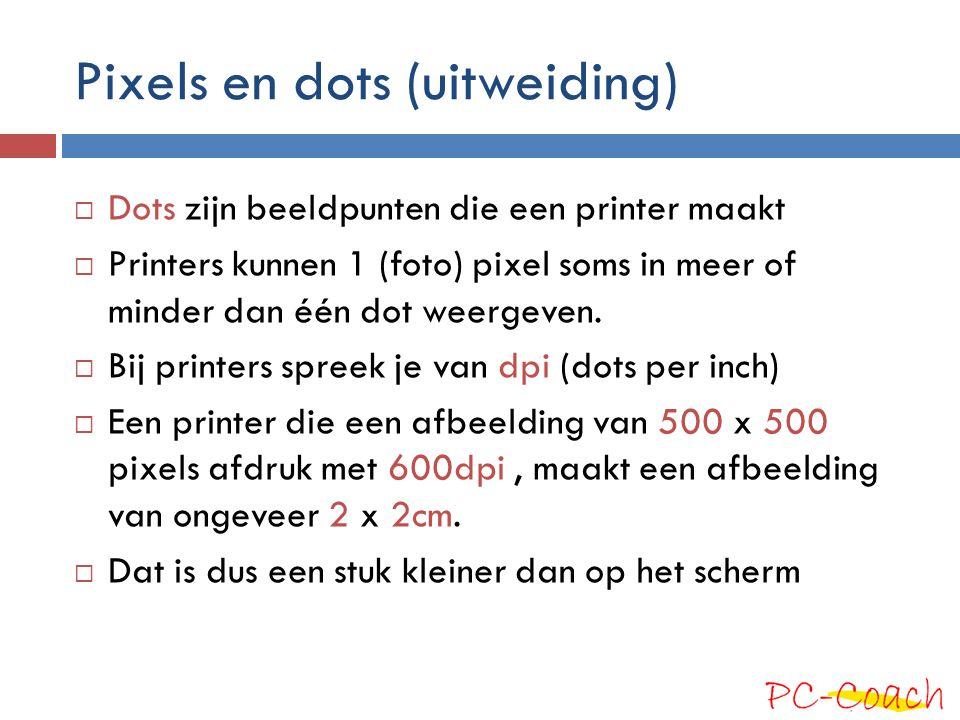 Pixels en dots (uitweiding)