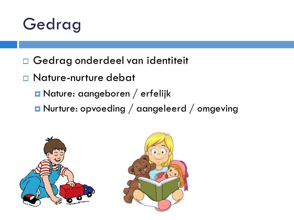 Gedrag Gedrag onderdeel van identiteit Nature-nurture debat